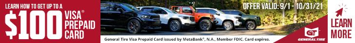 Gereral Tires Up to $100 VISA Prepaid Card